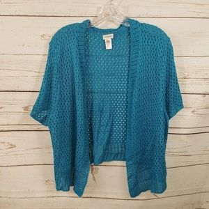 Avenue Shrug Top Open Front Teal Open Weave A10